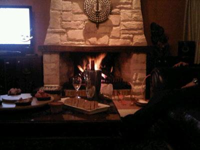 Winter fireplace scene